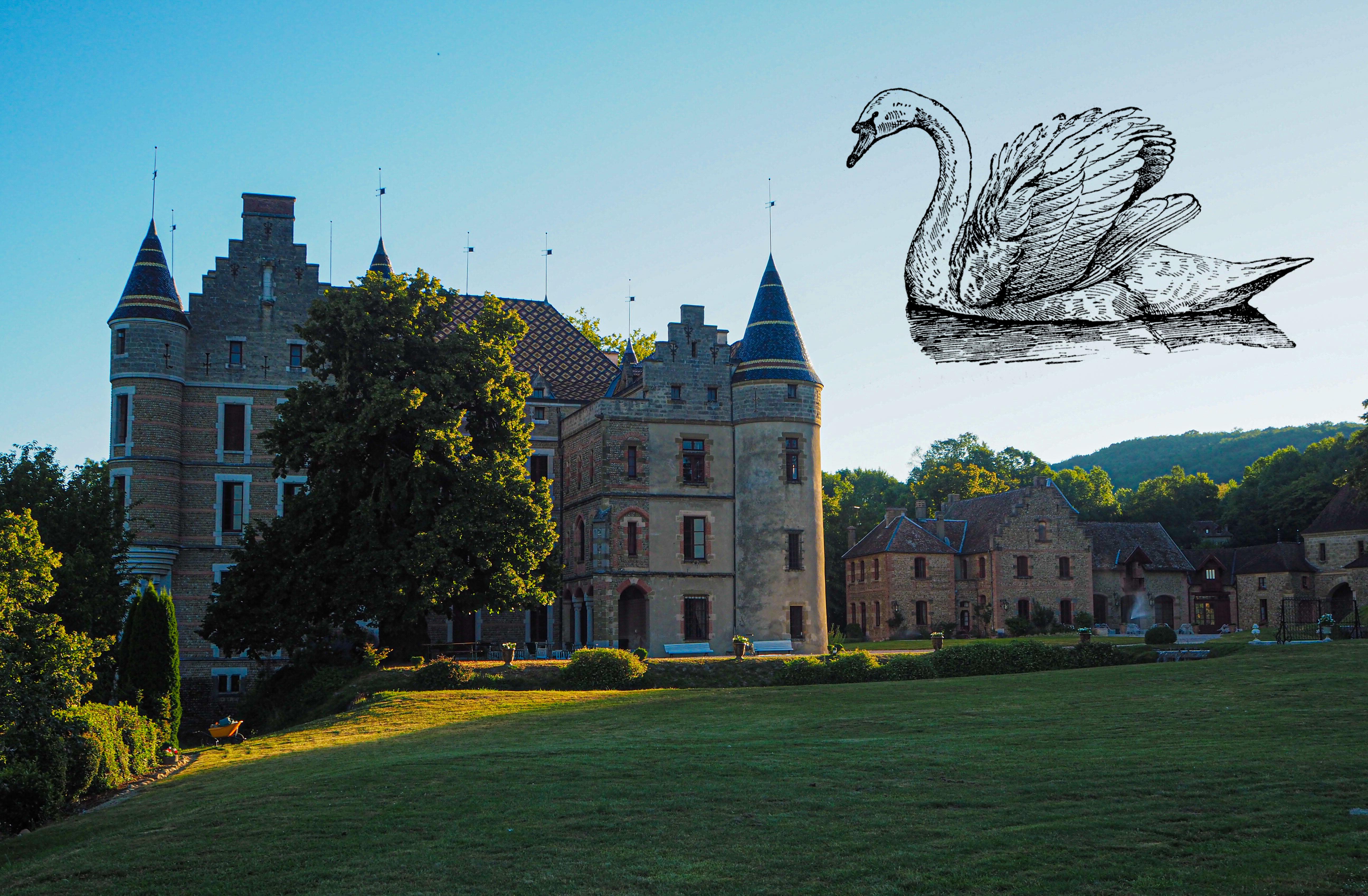 Vue du château avec un cygne dessiné dans le ciel en haut à droite